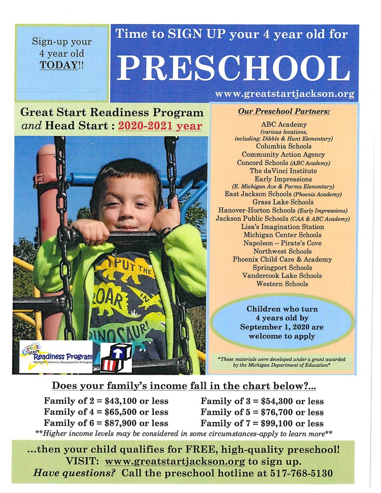 Apply for GSRP Preschool for the 2020-2021 school year!