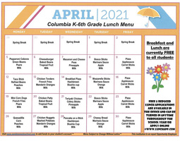 April Lunch Menu