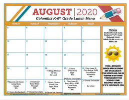 August Lunch Menu