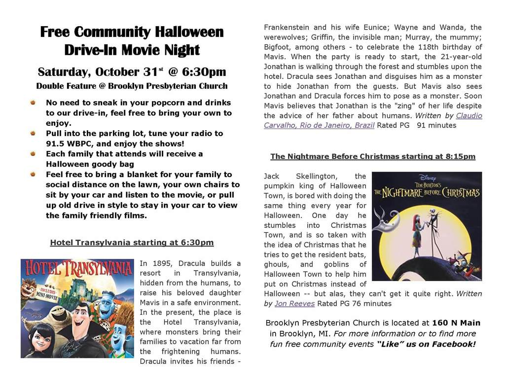 Free Community Halloween Drive-In Movie Night