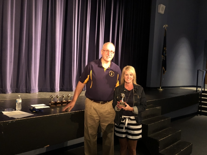 Mr. Wahr congratulated Mrs. Crawford for being named CUES Teacher of the Year!