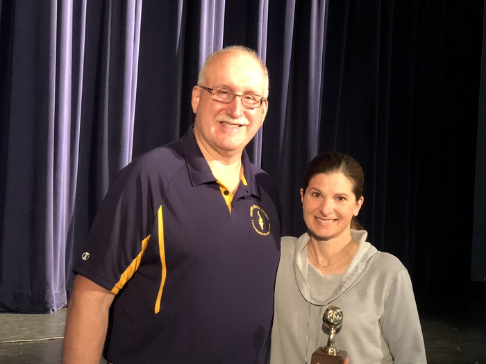 Mr Wahr congratulated Mrs. Eastman for being named CCJHS Teacher of the Year!