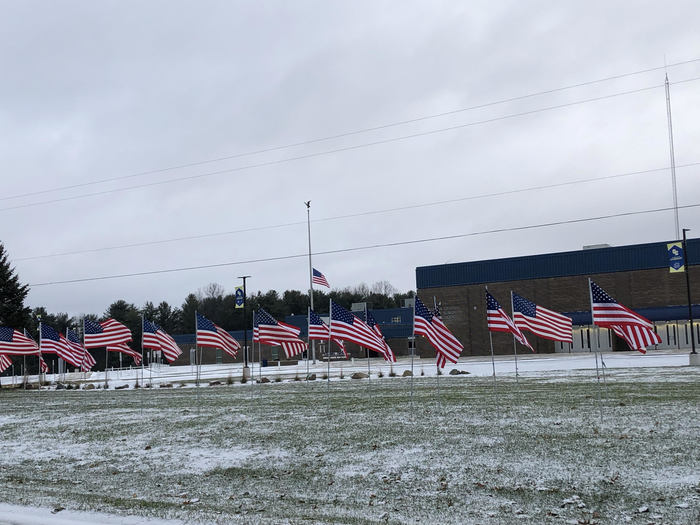 Veterans Day Flags displayed at Columbia Central