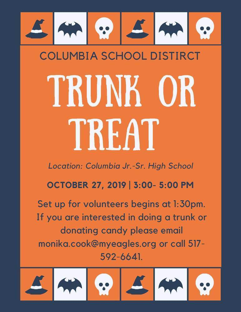 Trunk or Treat 10/27/19 3 to 5 pm