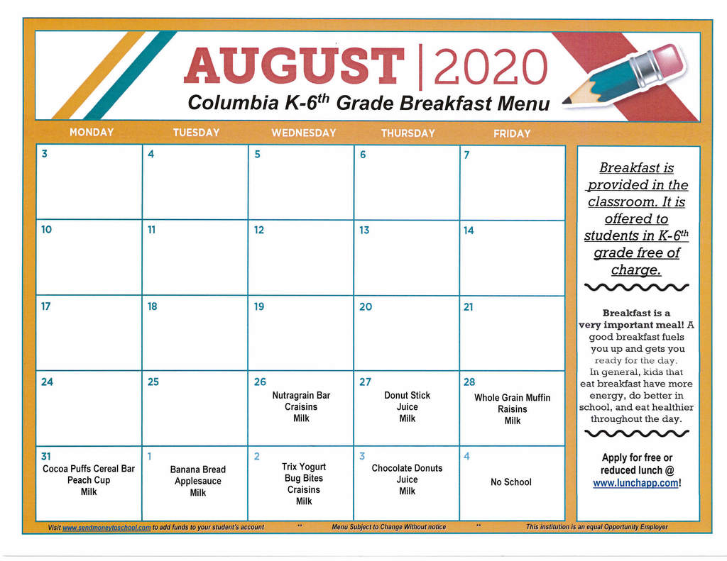 CES Breakfast Menu for August